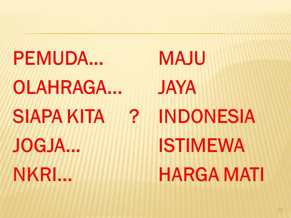 PEMUDA. MAJU OLAHRAGA. JAYA SIAPA KITA. INDONESIA JOGJA. ISTIMEWA NKRI