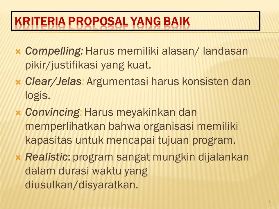 Kriteria Proposal yang baik