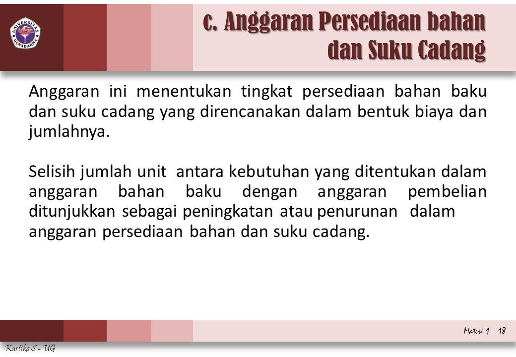 c. Anggaran Persediaan bahan dan Suku Cadang