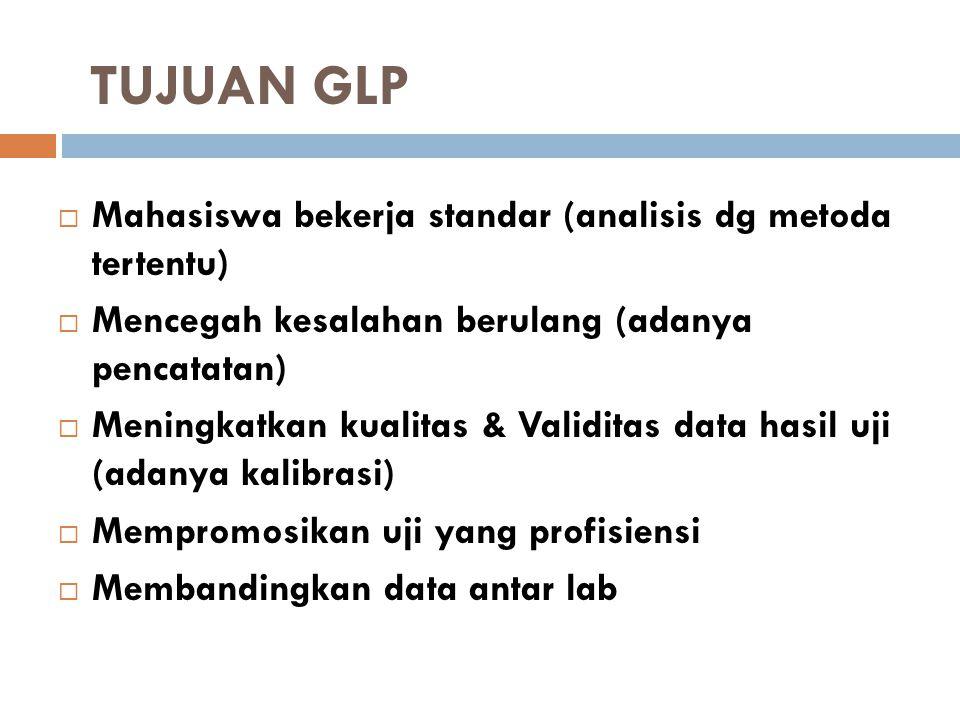 TUJUAN GLP Mahasiswa bekerja standar (analisis dg metoda tertentu)