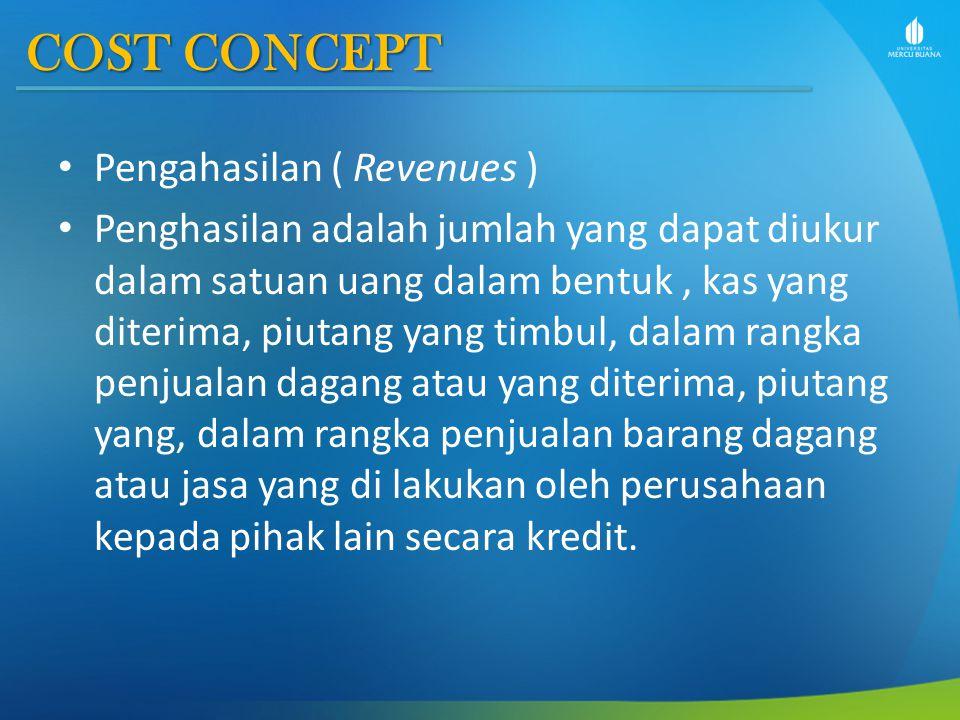 COST CONCEPT Pengahasilan ( Revenues )