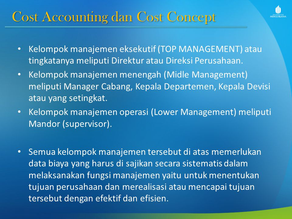 Cost Accounting dan Cost Concept