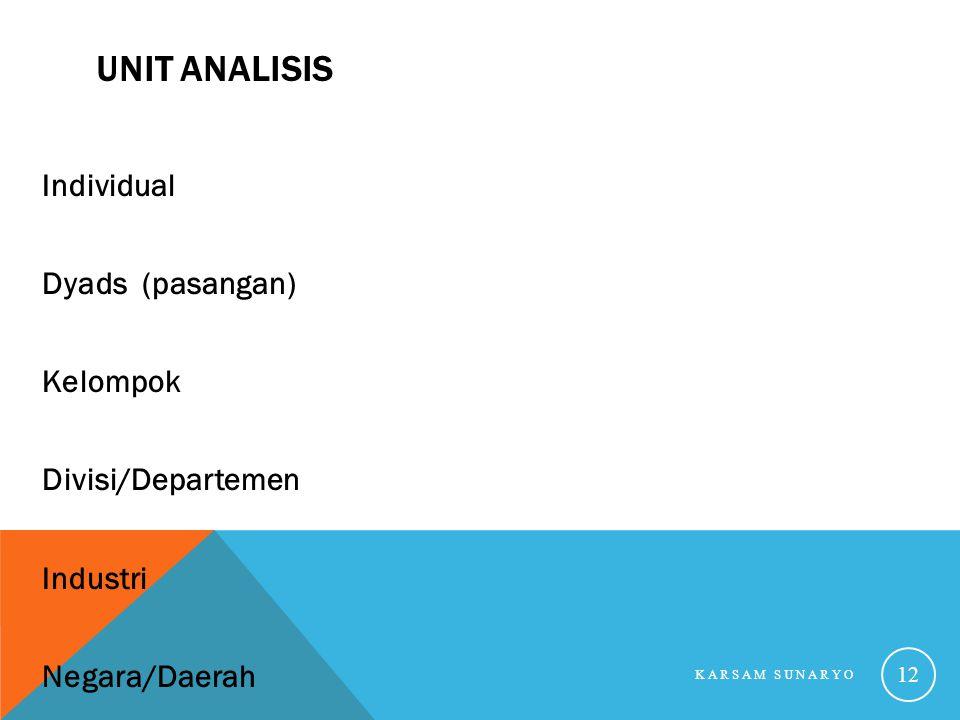 Unit Analisis Individual Dyads (pasangan) Kelompok Divisi/Departemen Industri Negara/Daerah Karsam Sunaryo.