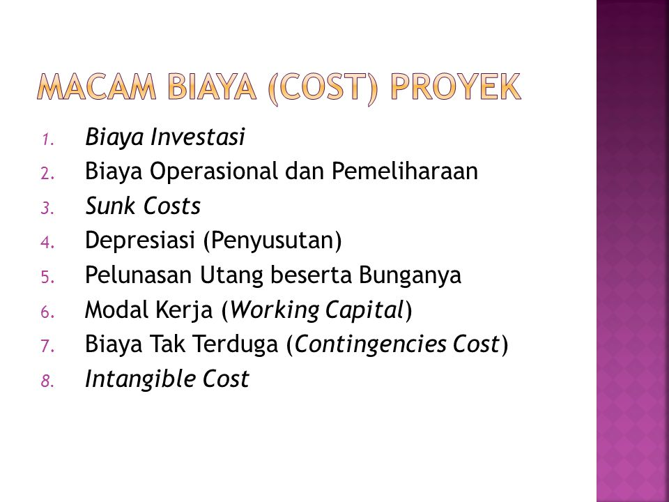 Macam Biaya (Cost) Proyek