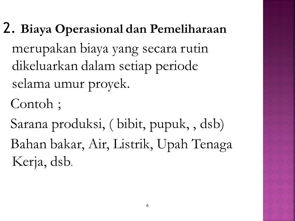2. Biaya Operasional dan Pemeliharaan