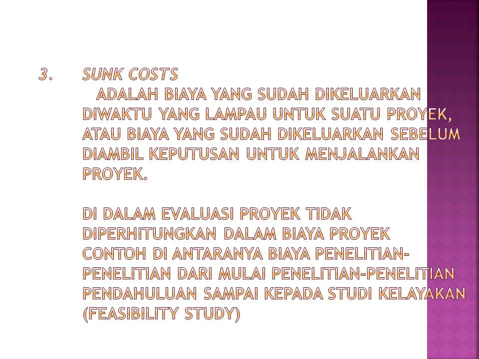 3. Sunk Costs adalah biaya yang sudah dikeluarkan diwaktu yang lampau untuk suatu proyek, atau biaya yang sudah dikeluarkan sebelum diambil keputusan untuk menjalankan proyek.