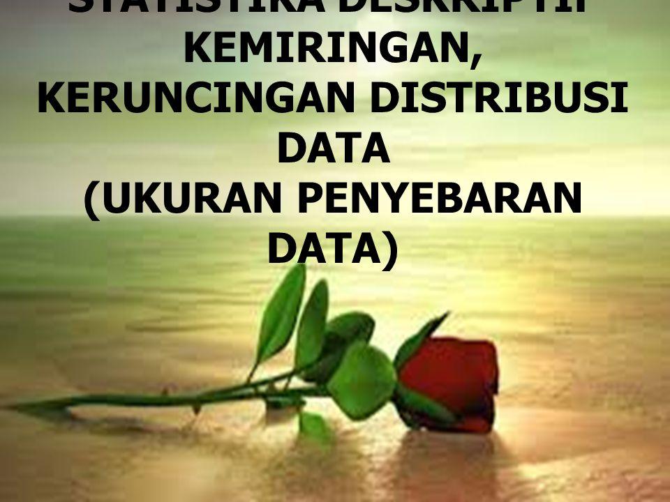 STATISTIKA DESKRIPTIF KEMIRINGAN, KERUNCINGAN DISTRIBUSI DATA (UKURAN PENYEBARAN DATA)