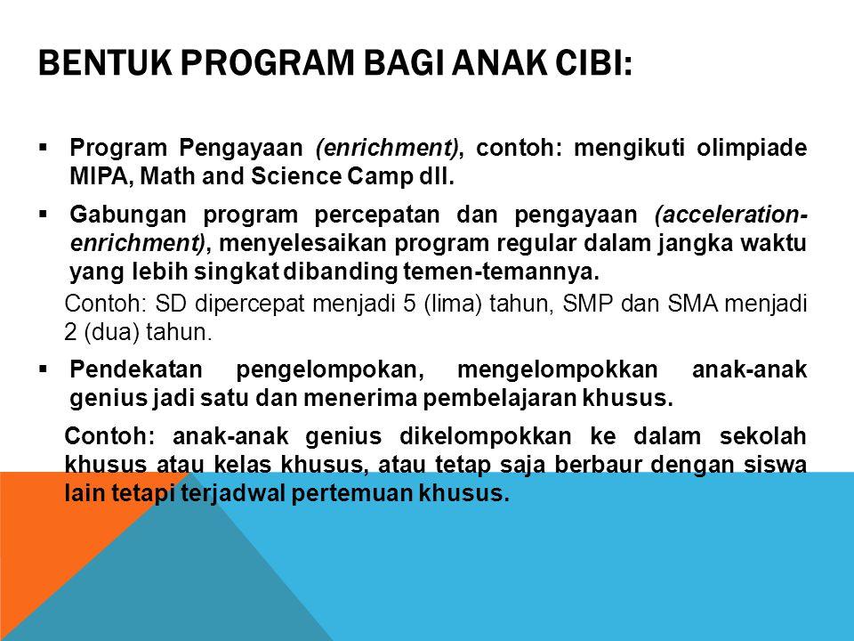 Bentuk Program bagi anak CiBi:
