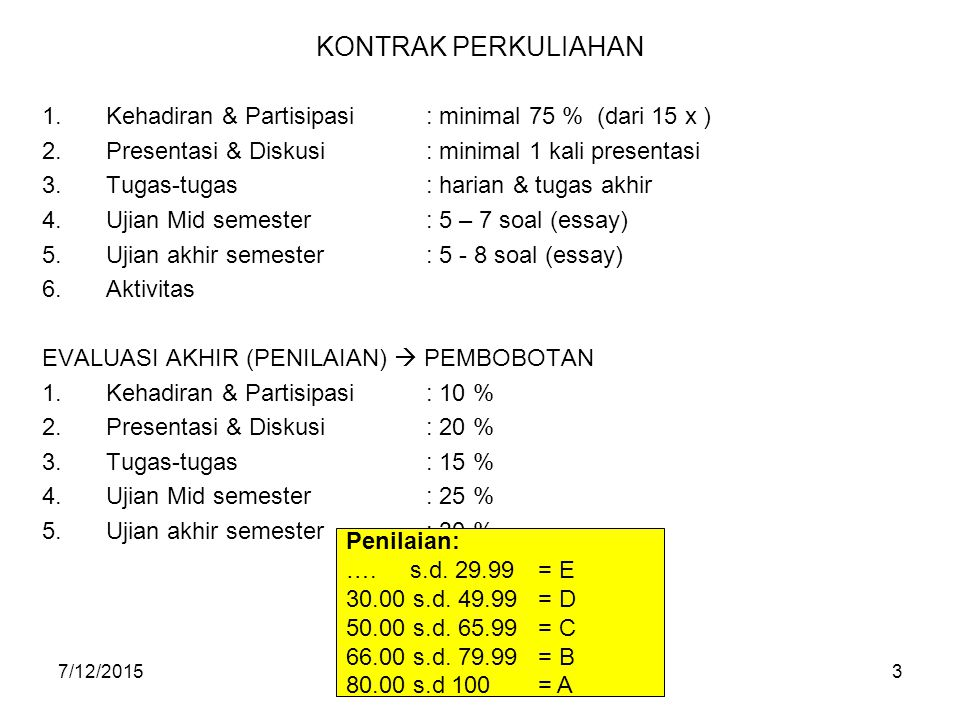 KONTRAK PERKULIAHAN Kehadiran & Partisipasi : minimal 75 % (dari 15 x ) Presentasi & Diskusi : minimal 1 kali presentasi.