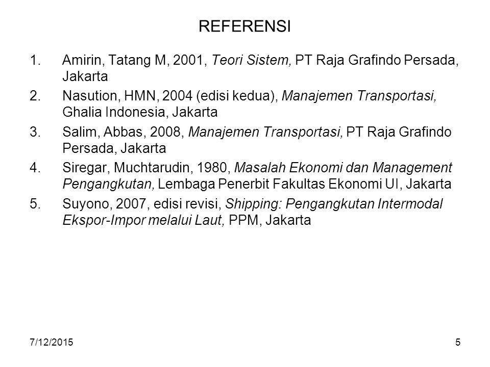 REFERENSI Amirin, Tatang M, 2001, Teori Sistem, PT Raja Grafindo Persada, Jakarta.