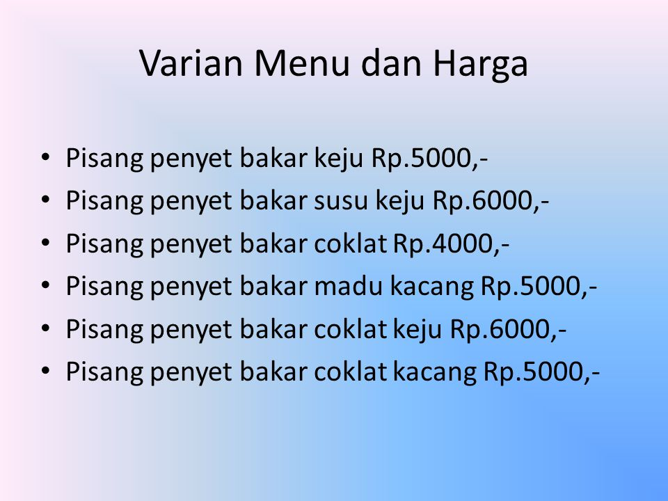Varian Menu dan Harga Pisang penyet bakar keju Rp.5000,-
