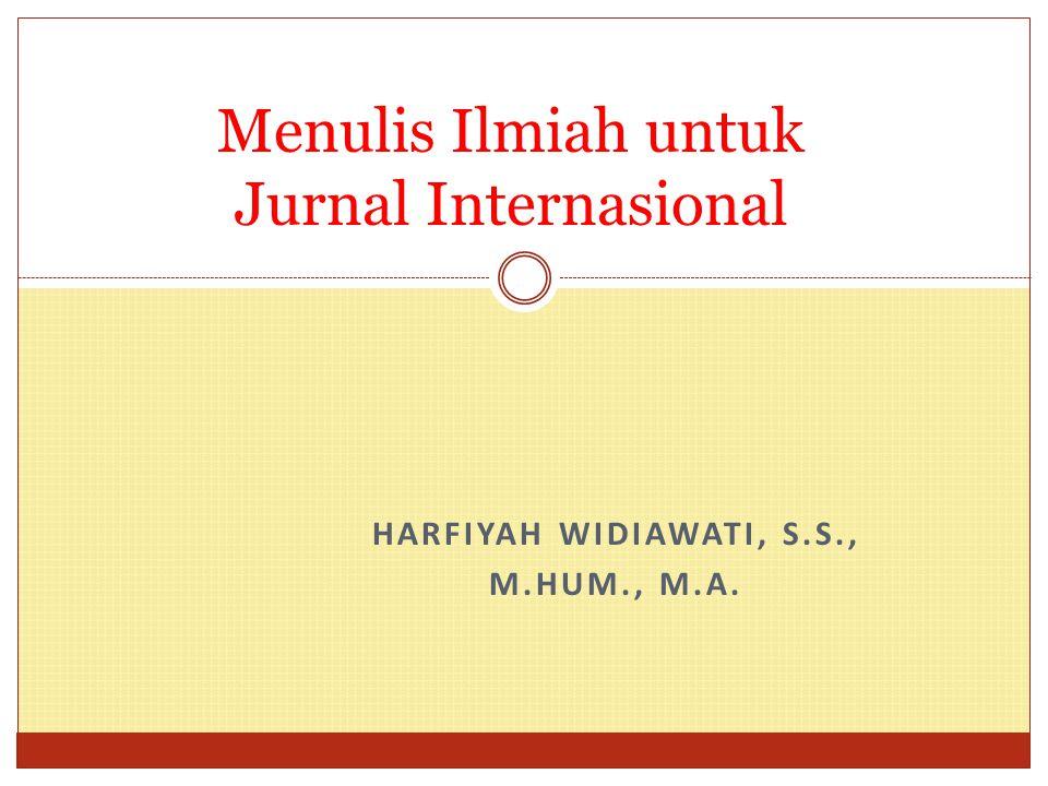 Menulis Ilmiah untuk Jurnal Internasional