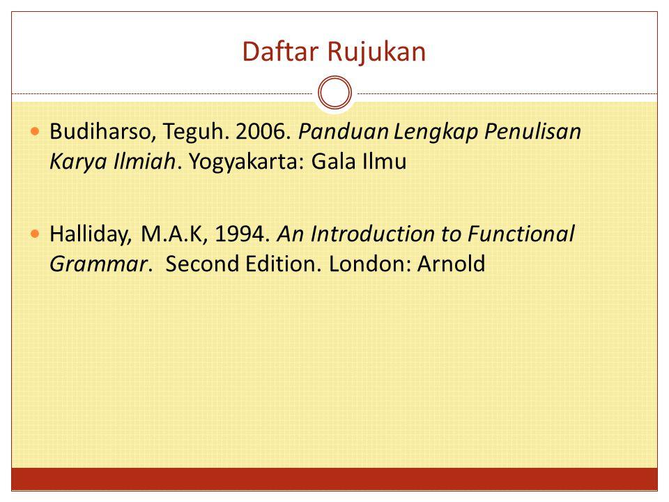Daftar Rujukan Budiharso, Teguh. 2006. Panduan Lengkap Penulisan Karya Ilmiah. Yogyakarta: Gala Ilmu.