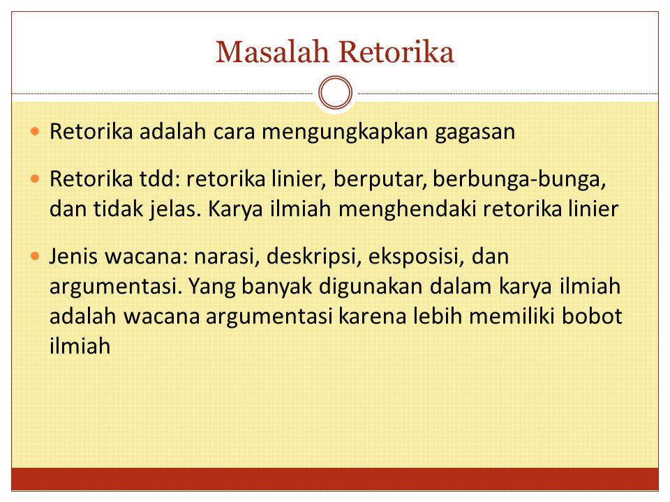 Masalah Retorika Retorika adalah cara mengungkapkan gagasan