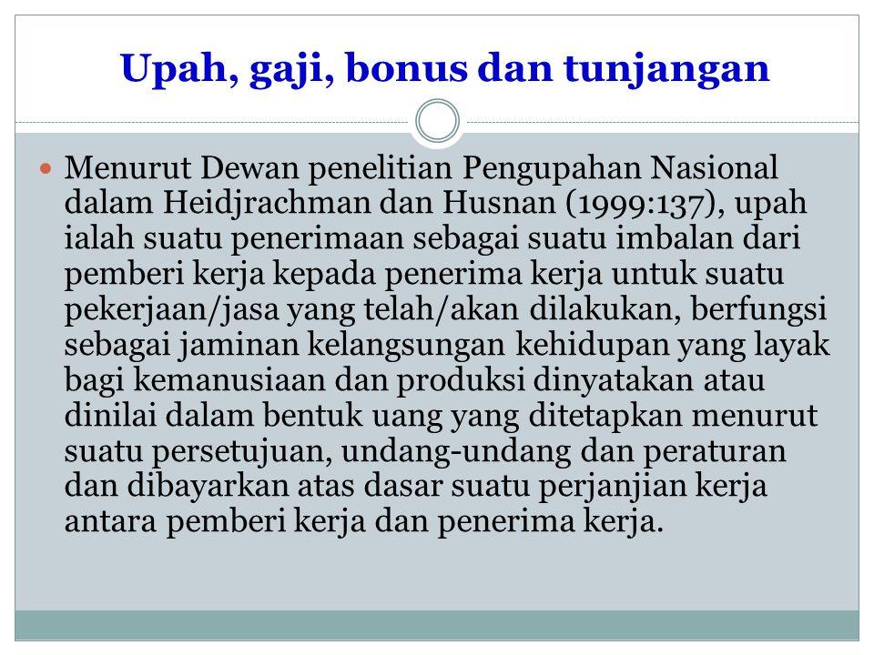 Upah, gaji, bonus dan tunjangan