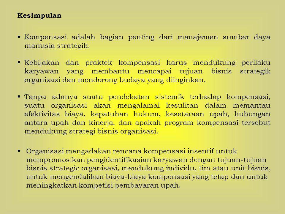 Kesimpulan Kompensasi adalah bagian penting dari manajemen sumber daya manusia strategik.