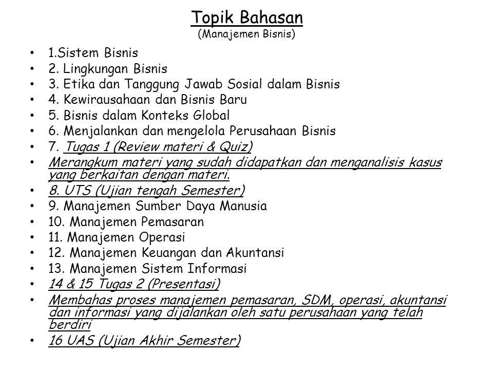Topik Bahasan (Manajemen Bisnis)