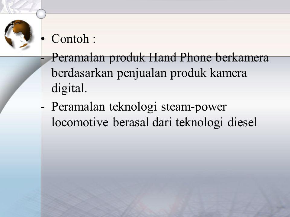 Contoh : Peramalan produk Hand Phone berkamera berdasarkan penjualan produk kamera digital.