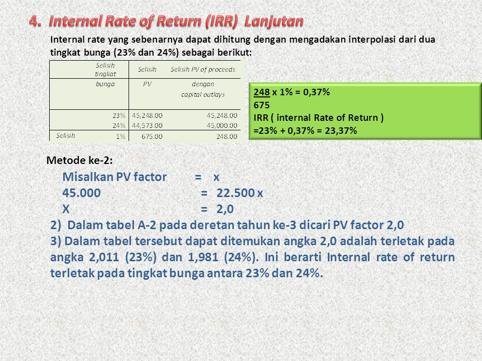 4. Internal Rate of Return (IRR) Lanjutan