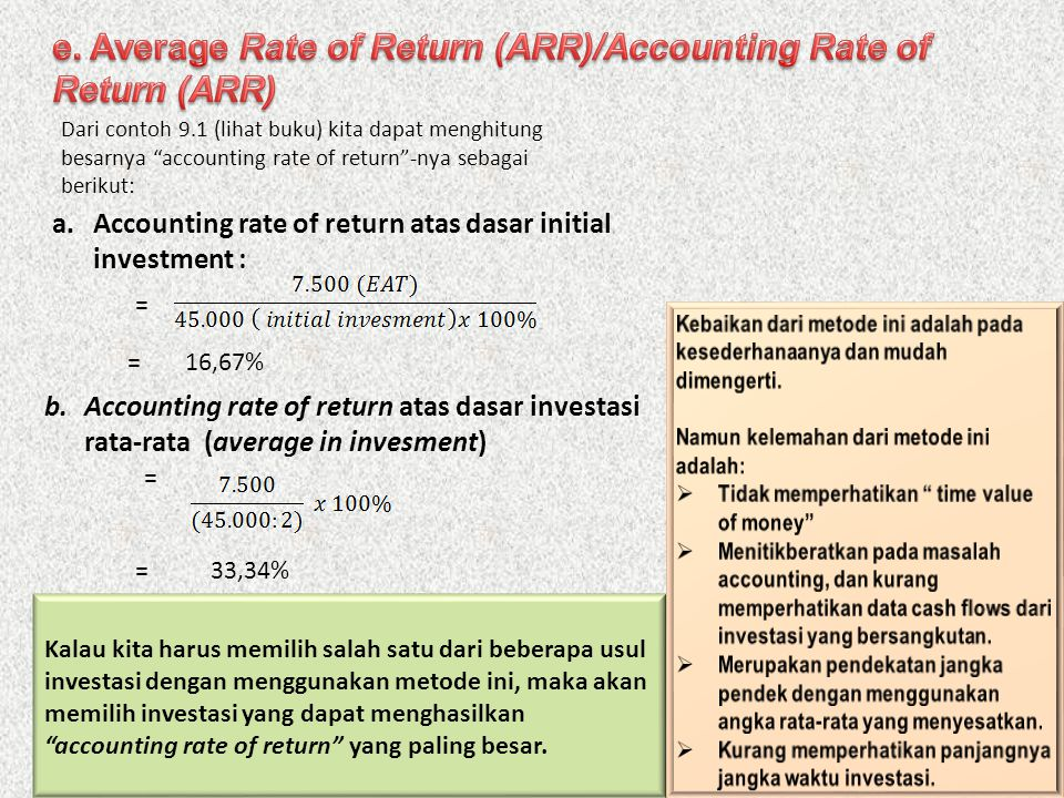 e. Average Rate of Return (ARR)/Accounting Rate of Return (ARR)