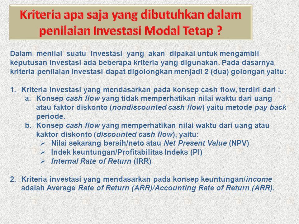 Kriteria apa saja yang dibutuhkan dalam penilaian Investasi Modal Tetap