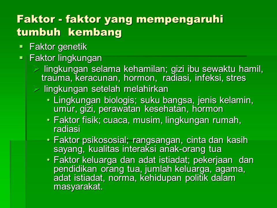 Faktor - faktor yang mempengaruhi tumbuh kembang