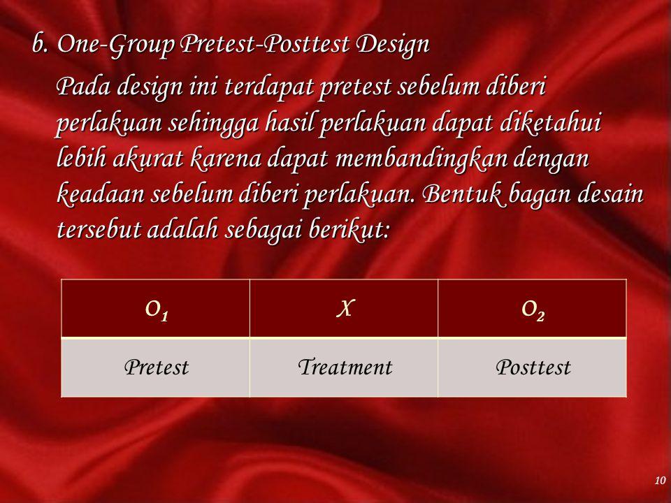 b. One-Group Pretest-Posttest Design Pada design ini terdapat pretest sebelum diberi perlakuan sehingga hasil perlakuan dapat diketahui lebih akurat karena dapat membandingkan dengan keadaan sebelum diberi perlakuan. Bentuk bagan desain tersebut adalah sebagai berikut: