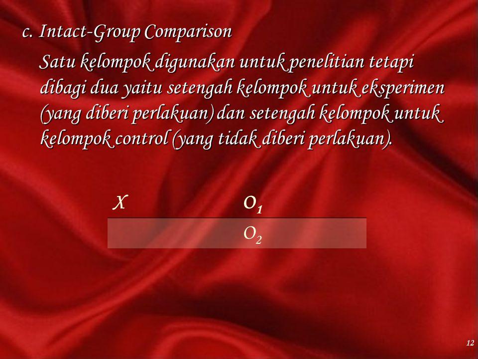 c. Intact-Group Comparison Satu kelompok digunakan untuk penelitian tetapi dibagi dua yaitu setengah kelompok untuk eksperimen (yang diberi perlakuan) dan setengah kelompok untuk kelompok control (yang tidak diberi perlakuan).