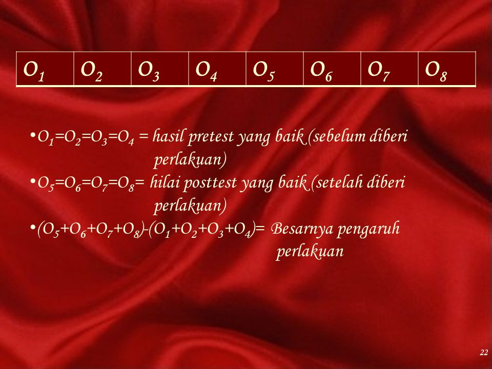 O1 O2. O3. O4. O5. O6. O7. O8. O1=O2=O3=O4 = hasil pretest yang baik (sebelum diberi perlakuan)