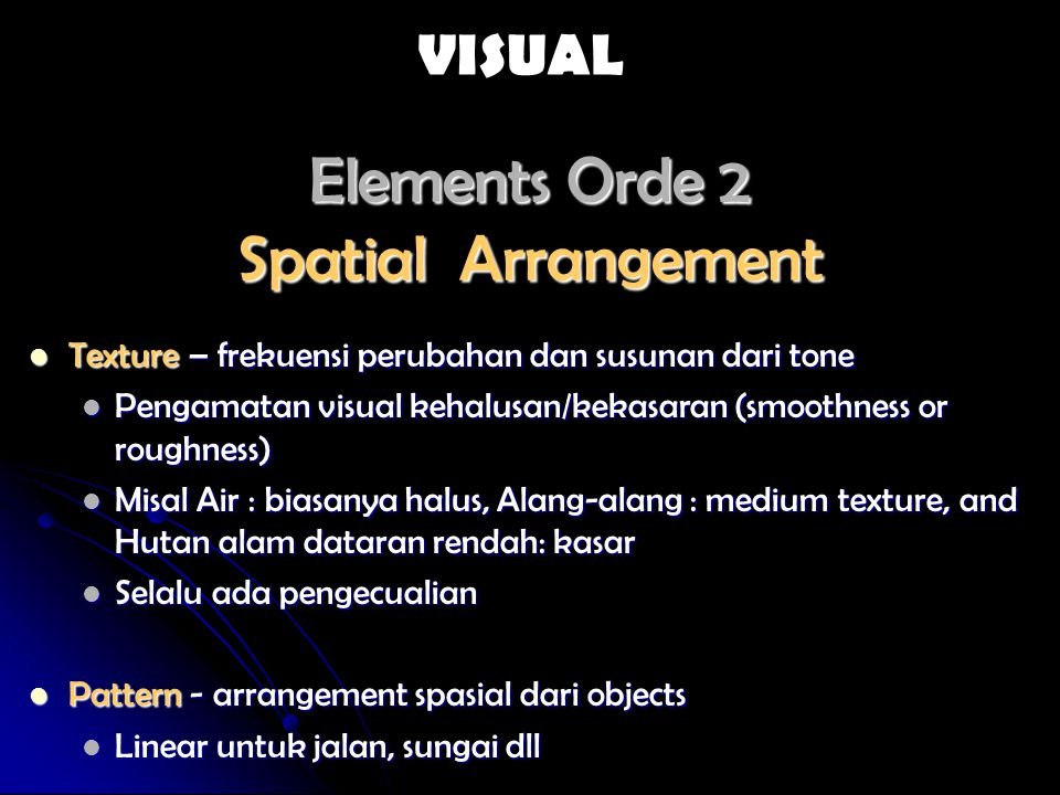 Elements Orde 2 Spatial Arrangement