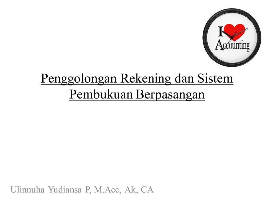 Penggolongan Rekening dan Sistem Pembukuan Berpasangan