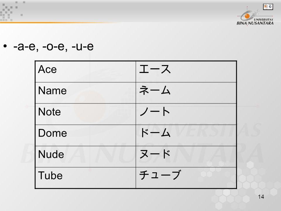-a-e, -o-e, -u-e Ace エース Name ネーム Note ノート Dome ドーム Nude ヌード Tube チューブ