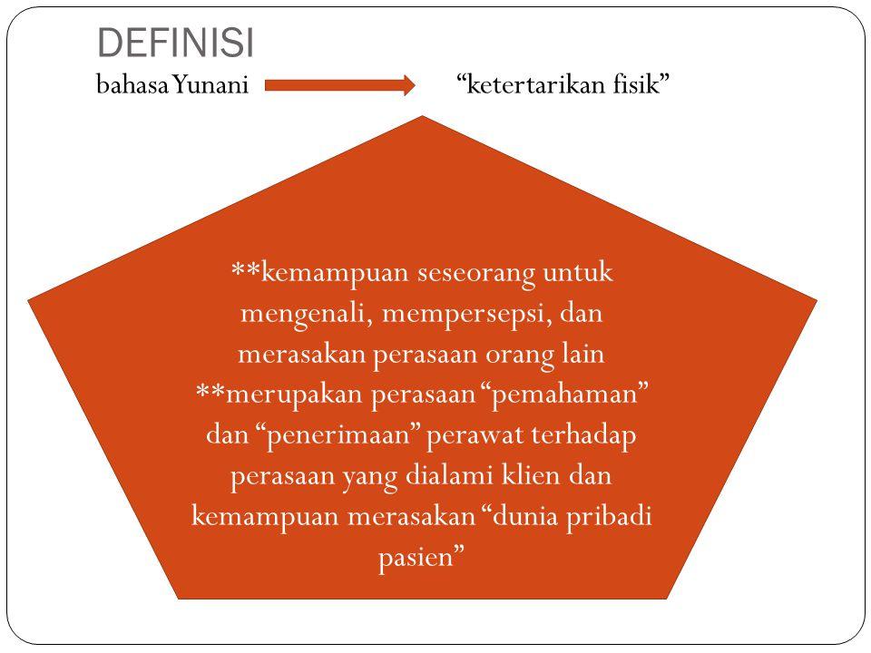 DEFINISI bahasa Yunani ketertarikan fisik **kemampuan seseorang untuk mengenali, mempersepsi, dan merasakan perasaan orang lain.