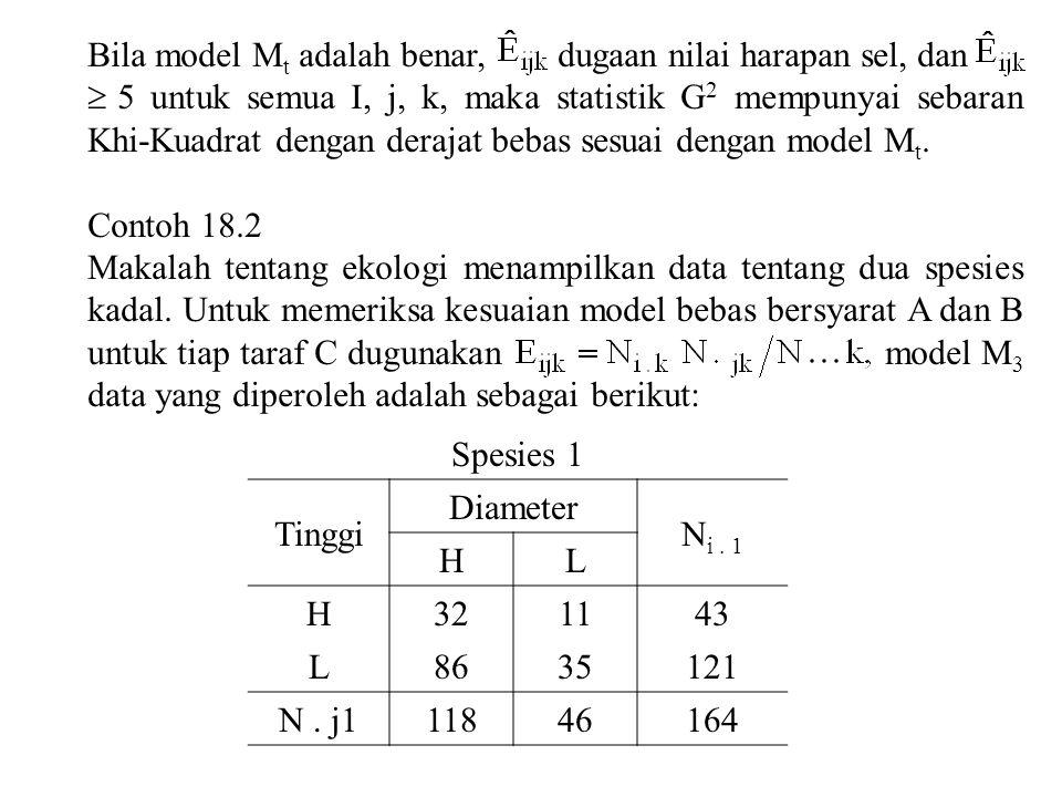Bila model Mt adalah benar, dugaan nilai harapan sel, dan