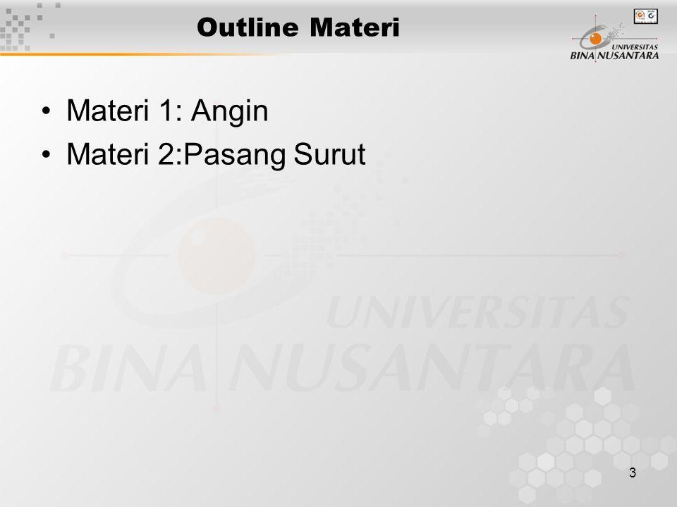 Outline Materi Materi 1: Angin Materi 2:Pasang Surut
