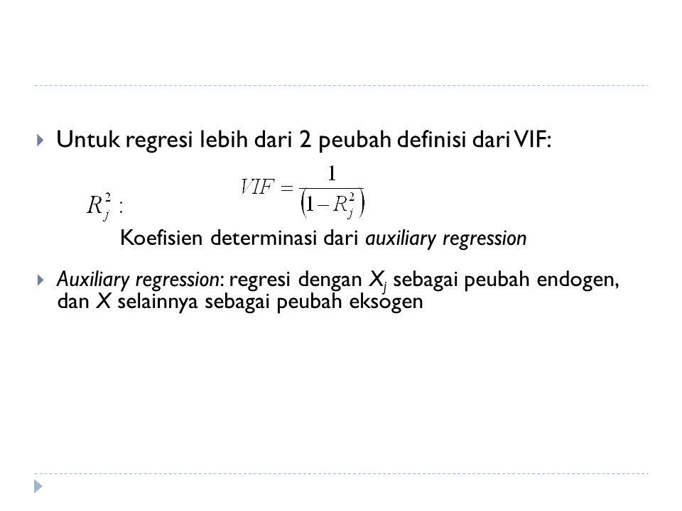 Untuk regresi lebih dari 2 peubah definisi dari VIF: