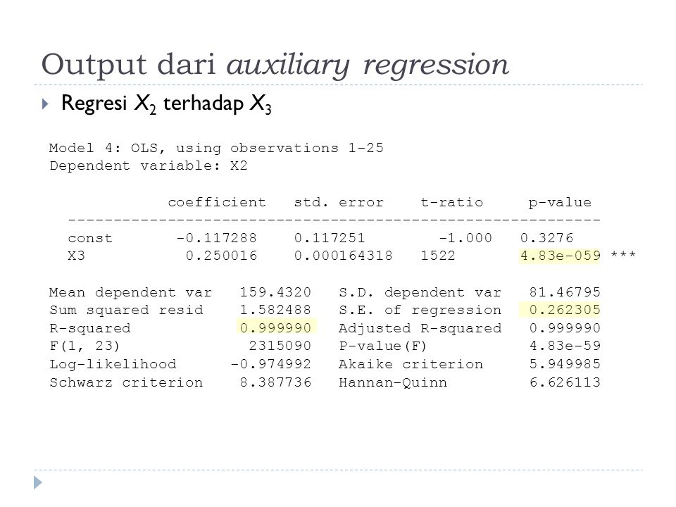 Output dari auxiliary regression