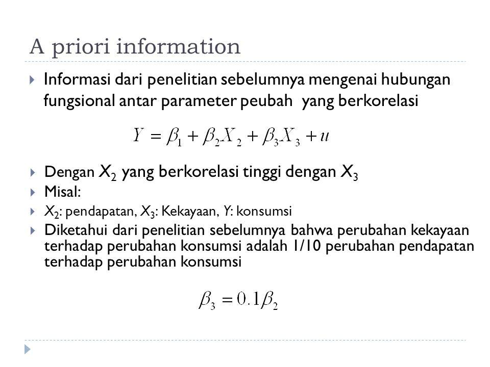 A priori information Informasi dari penelitian sebelumnya mengenai hubungan fungsional antar parameter peubah yang berkorelasi.