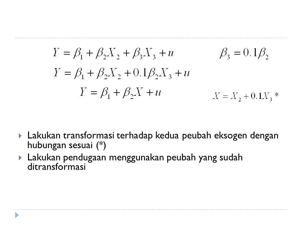 Lakukan transformasi terhadap kedua peubah eksogen dengan hubungan sesuai (*)