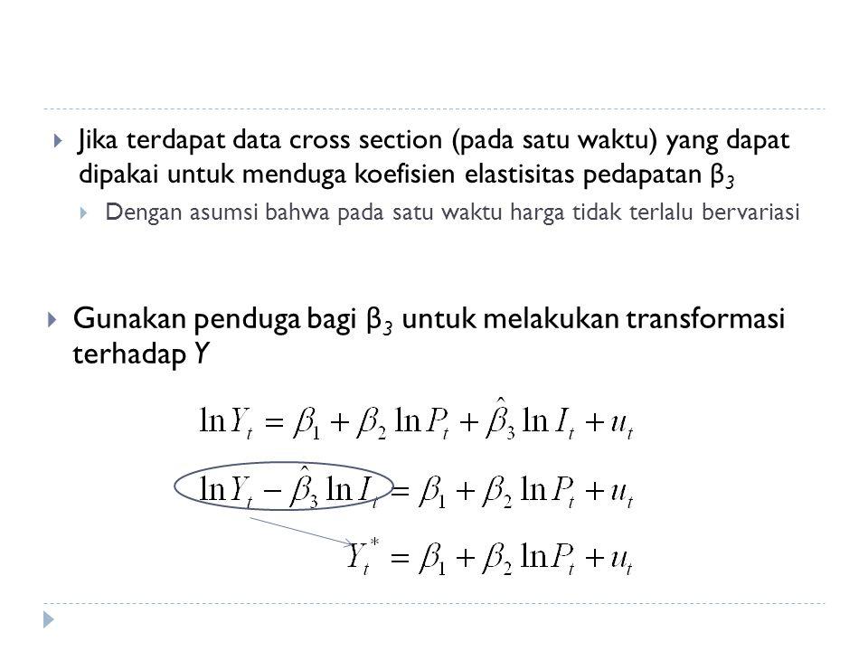 Gunakan penduga bagi β3 untuk melakukan transformasi terhadap Y
