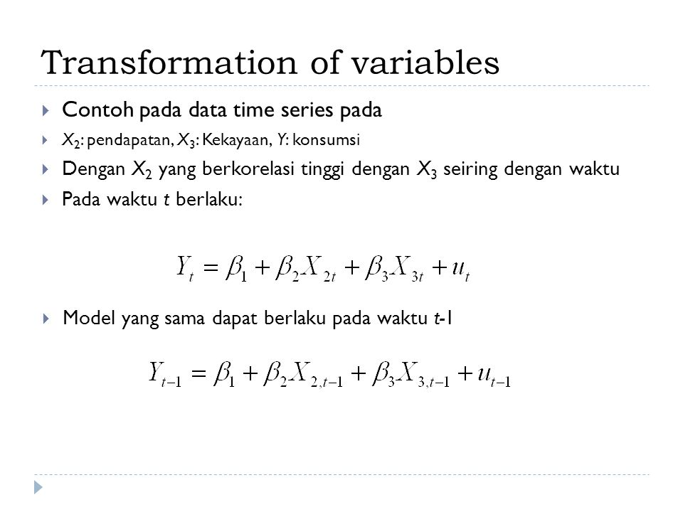 Transformation of variables