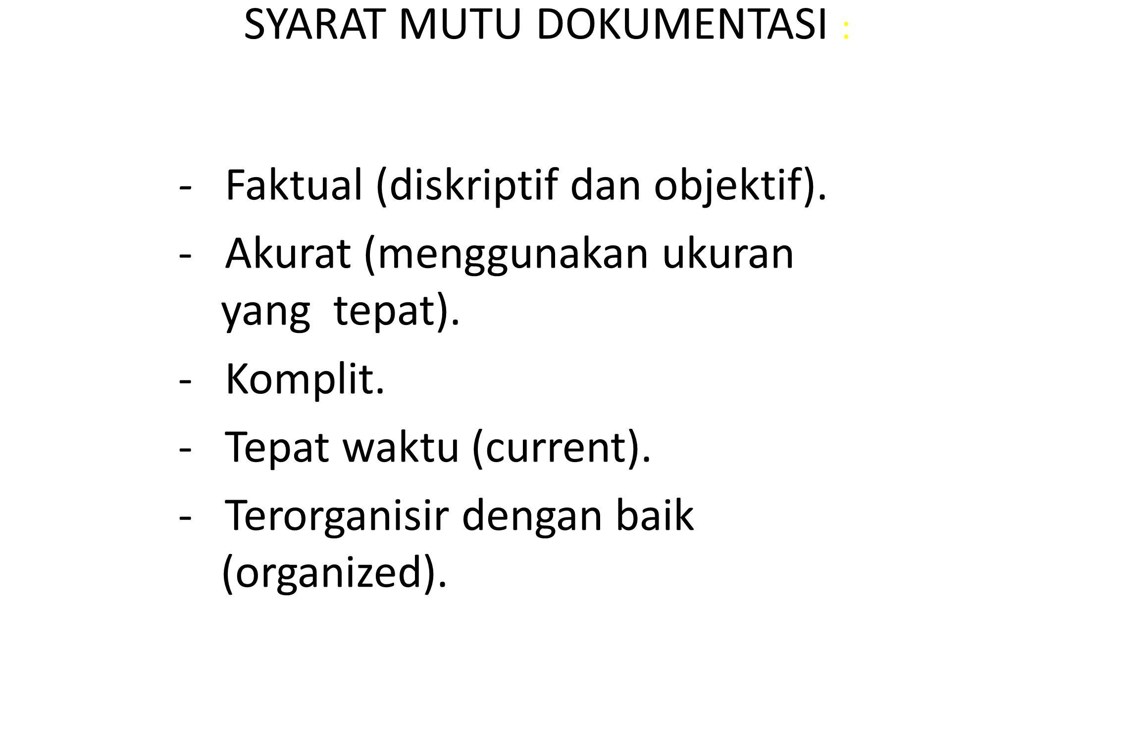SYARAT MUTU DOKUMENTASI :