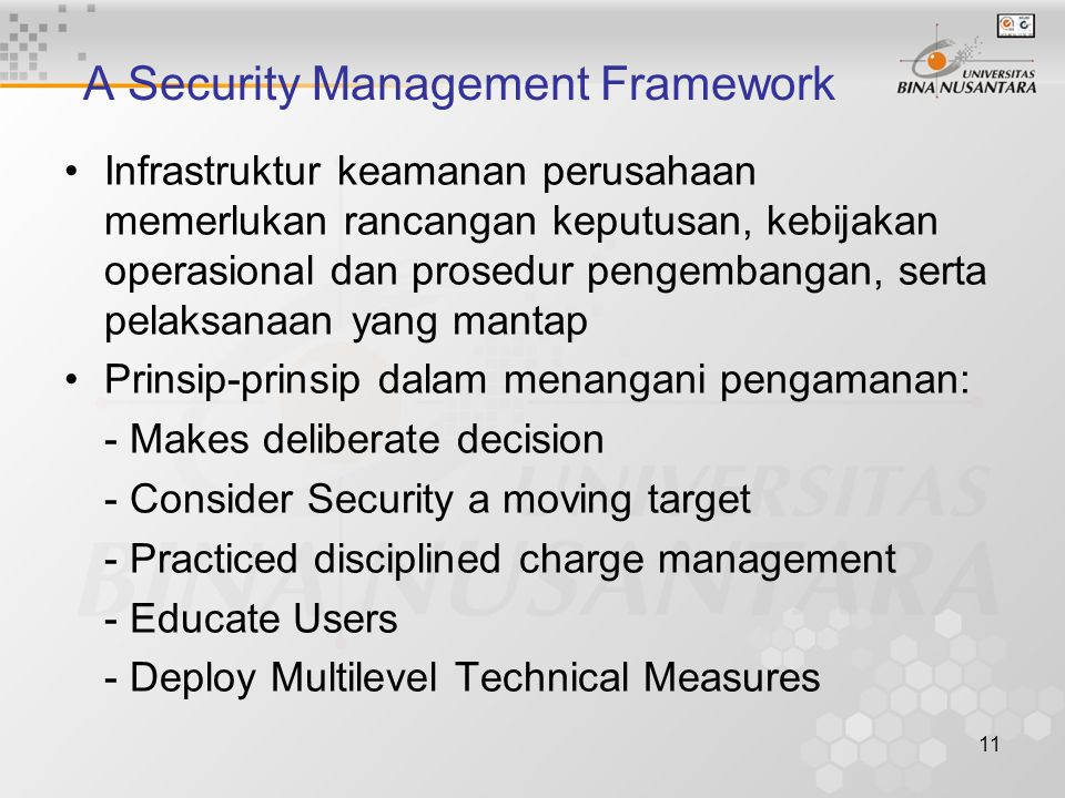 A Security Management Framework