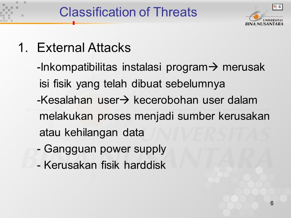 Classification of Threats