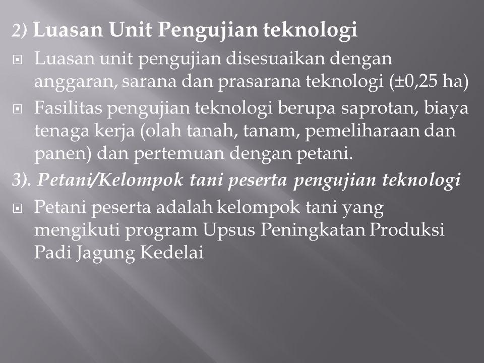 2) Luasan Unit Pengujian teknologi