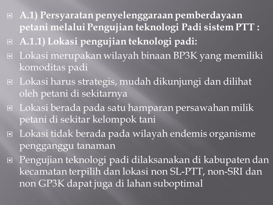 A.1) Persyaratan penyelenggaraan pemberdayaan petani melalui Pengujian teknologi Padi sistem PTT :