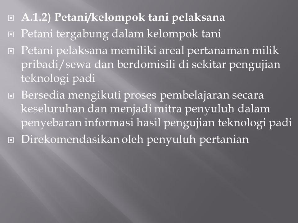 A.1.2) Petani/kelompok tani pelaksana