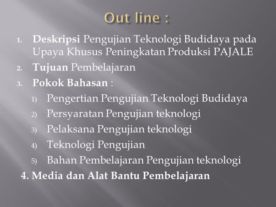 Out line : Deskripsi Pengujian Teknologi Budidaya pada Upaya Khusus Peningkatan Produksi PAJALE. Tujuan Pembelajaran.