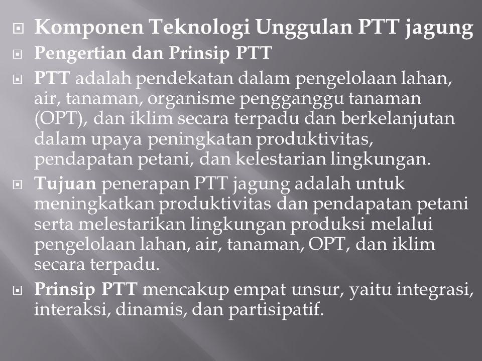 Komponen Teknologi Unggulan PTT jagung