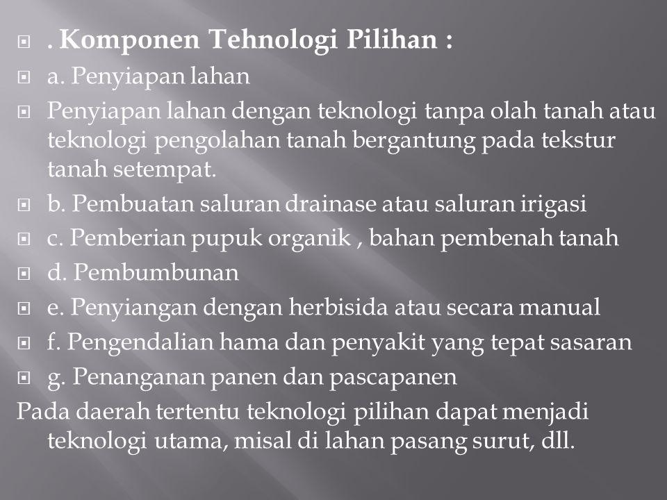 . Komponen Tehnologi Pilihan :